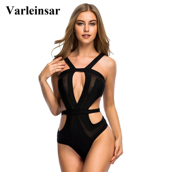 a8952d86c59c0 Varleinsar Black mesh splicing halter sexy one piece swimsuit for women  swimwear female bathing suit swim
