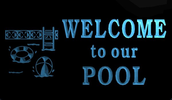 LS278-b Welcome To Our Pool Logo Drink Decor LED Neon Light Sign Decor Free Shipping Dropshipping Wholesale 8 colors to choose