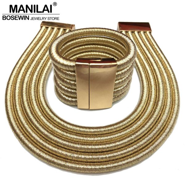 ewelry sets fashion MANILAI Hot Boho Collar Necklace Jewelry Sets Fashion Magnetism Button Multilayer Choker Necklaces Bracelets Set Wome...