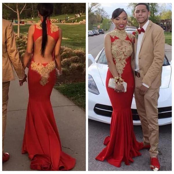2018 African Red Mermaid Prom Kleider Sexy Backless High Neck Mit Goldapplikationen Lange Abendkleider Romantische Schwarze Mädchen Party Kleid