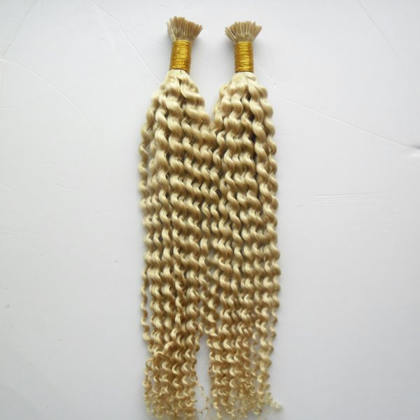 200g #613 Bleach Blonde Nail I Tip Hair Extensions kinky curly Machine Made Remy Hair Pre Bonded Keratin Capsules Hair 1g/strand