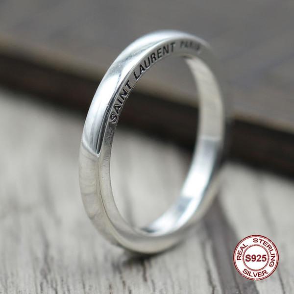 anello in argento sterling s925 Semplice ed elegante Retro lettere Anelli chiusi Coppia stile classico Invia un regalo ad amare Y1892606