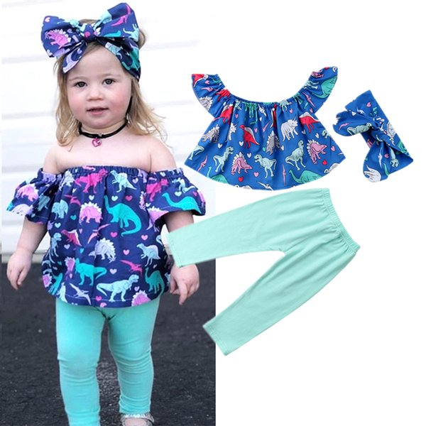 Newborn Toddler Kids Baby Girl Dinosaur Off Shoulder Tops + Long Pant Legging Headband 3pcs Set Outfits Kids Clothes Baby Clothing 6M-5Y
