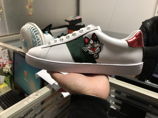 New man women luxury designer sneaker with top quality ace sneaker running shoes with dog sale size 34-46