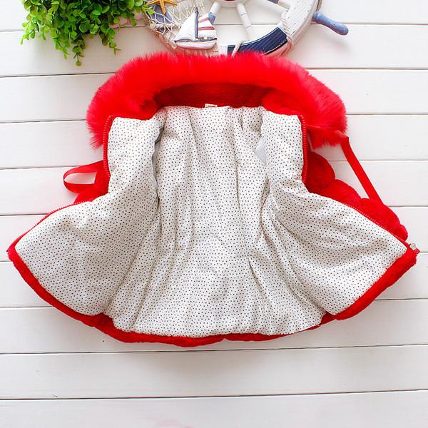 Bebê Meninas Casaco De Pele Do Falso Quente 2018 Roupas de Inverno Para O Infante Do Miúdo Vermelho Rosa Toddlers Menina Pérola Grosso Outwear Casaco Criança Moda