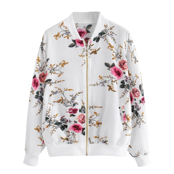 Womens Retro Floral Printing Zipper Up Bomber Jacket Casual Coat Outwear Bomber Jacket Casual Coat Autunno Outwear Donna