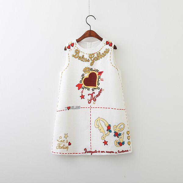 Compre Logotipo Do Desenhista Roupa Do Bebé Crianças Vestidos Bonitos Elegante Floral Impresso Vestido Sem Mangas Saia Logotipo De Coração De Luxo