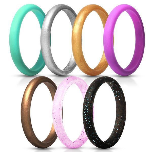 Free DHL Multicolor Hypoallergenic Ring 2.7 Mm Women Engagement Thin Hypoallergenic RinFlexible Rubber Band Silicone Ring Wedding Gift H504F