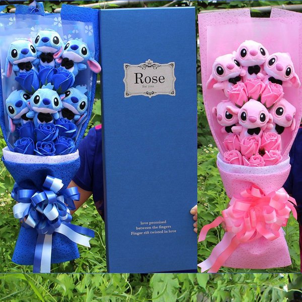 Artificial Lovely Cartoon Plush Toys Stitch Toys Gift Bouquet with Fake Flowers