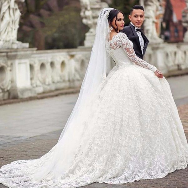 Ball Gown Wedding Dresses White Bateau Neckline Lace Long Sleeve Sweep Train South African Vestido De Novia Casamento Arabia Bridal Dresses
