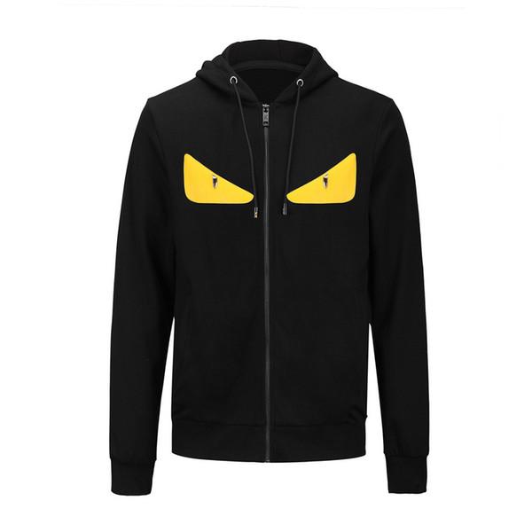 2018 Autumn Tide Brand Men Women Hoodies cute yellow eyes print Casual hoody men hip hop zipper jacket high quality luxury sweatshirts M-XXL