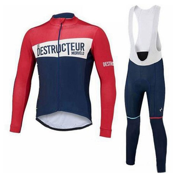 Morvelo team ciclismo manica lunga jersey bib set set 2019 poliestere Quick-Dry Bike Sportswear Roupa Ciclismo U53143