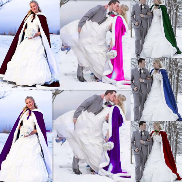 2018 NEW Faux Fur Elegant Winter Fur Bridal Coat Wraps Jackets with Hat Cheap Bridal Wraps Warm Newest Long Wedding Cloak Capes Bolero
