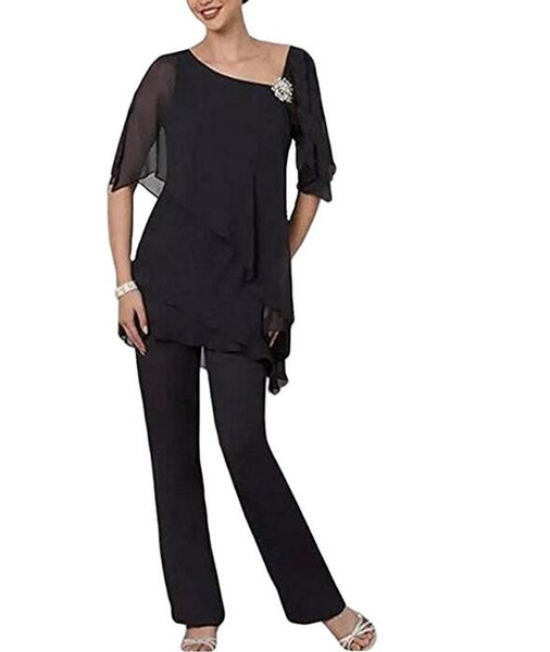 Lisa Dress 2 Piece Mother of The Bride Pantsuit Half Sleeve Plus Size for Wedding trouser suits for special occasions