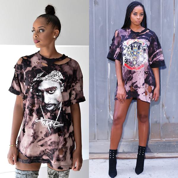 Women Ladies Fashion Novelty Summer T-Shirts 2 Style Short Sleeve O-Neck Pullover Cartoon Pattern Print Loose Long Length Tops