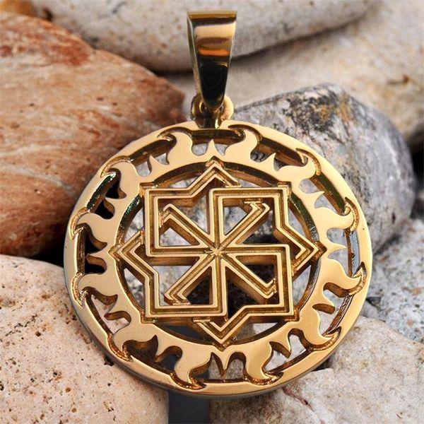 Oro eslavo Kolovrat colgante Molvinets Amuleto Valkyrie amuletos y talismanes Viking étnico colgante