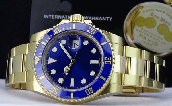 Sıcak satıcı Lüks Safir 18 k sarı Altın Mavi Seramik 116618 40mm Otomatik Makine Hareketi Mens Watch erkek Spor Bilek Saatler