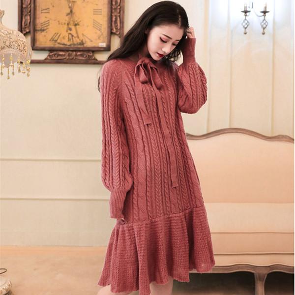 Street Style Red Wolle Frauen Herbst Winter Kleid Rundhals Slim Langarm Stricken Retro Hohe Taille Schlanke Damen Kleid Vestidos