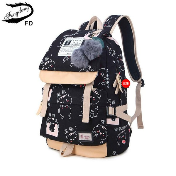 FengDong backpacks for teenage girls school bags women chinese characters printing backpack canvas bag cute plush ball bookbag S914