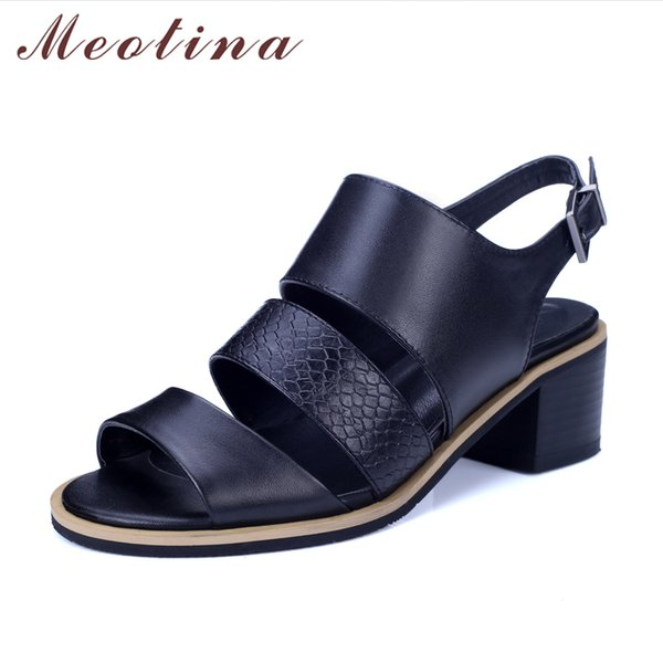 Meotina Women Sandals Genuine Leather Shoes Thick Heel Sandals Open Toe Real Leather Shoes Gladiator Rome Ladies Heels