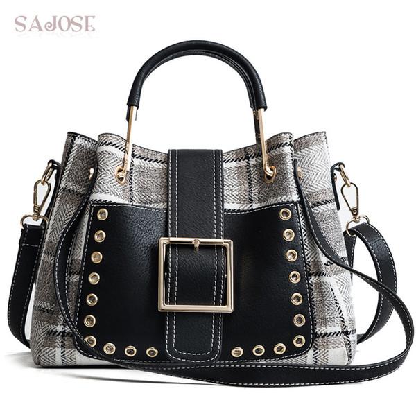 Bolso de las mujeres Bolso de la manera Houndstooth Vintage Lady Totes Bag Lana de alta calidad Famous Brand Women's Shoulder Messenger Bags