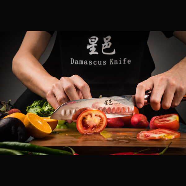Xing Yi Damascus Santoku Knife 7'' Forged by VG-10 Steel, Multipurpose Kitchen Knife for Mincing Dicing and Slicing Durable Pakkawood handle