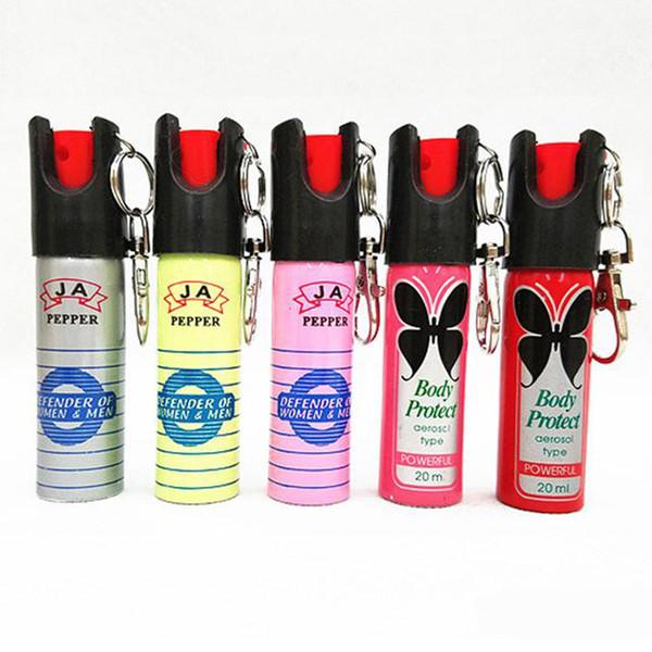 20 ml Spray de Chaveiro Ao Ar Livre Dispositivo de Auto-Defesa Chaveiro Gás Lacrimogêneo Senhoras À Noite Out Defense Ferramentas de Sobrevivência Engrenagem
