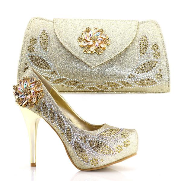 12cm dünne High Heels italienische Schuhe und Tasche Set Plattform Pumps Braut Hochzeit Schuhe mit Luxus Strass Gold