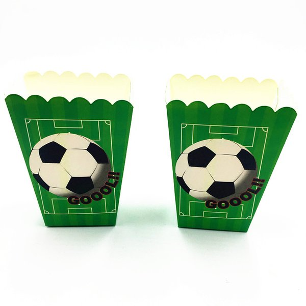 6PCS/LOT NEW FOOTBALL POPCORN BOXES KIDS BIRTHDAY PARTY FAVORS BABY SHOWERFOOTBALL CANDY CASE FOOTBALL DESIGN POPCORN BOXES