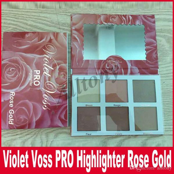 Violet Voss Makeup Palette Sombra de ojos Violet Voss Pro Rose Gold Highlighter Paleta de sombra de ojos Cosméticos 6 colores