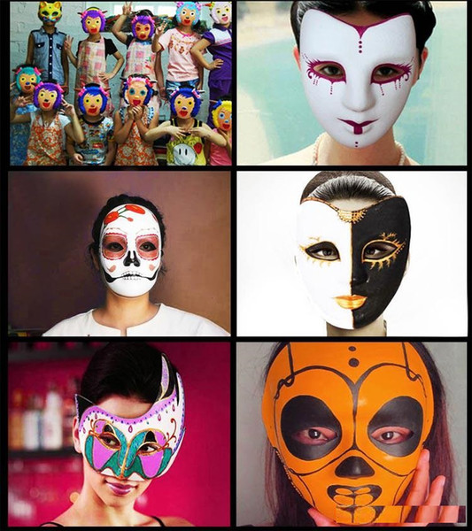 Best DIY Mask Hand Painted Halloween White Face Mask Zorro Crown Butterfly Blank Paper Mask Masquerade Party Cosplay Masks DHl free shipping