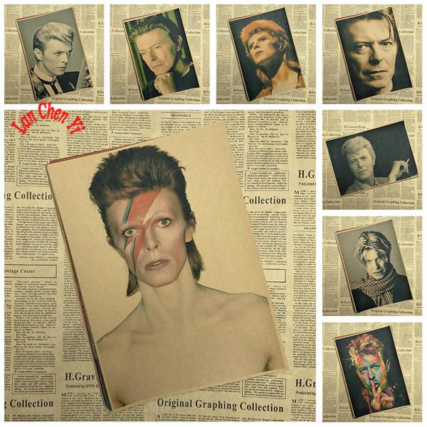 Vintage Rock Musik David Bowie Kraftpapier Poster Cafe Kreative Tapete Innenausstattung Kostenloser Versand