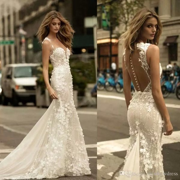 top popular Berta 2018 Mermaid Wedding Dresses Sheer Mesh Lace 3D Floral Applique Tulle Sleeveless Bridal Gowns With Buttons Custom Made Wedding Dresses 2019