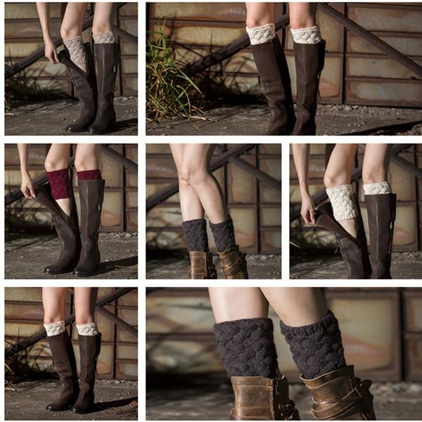Compre Invierno Mujeres Short Crochet Boot Puños Tops De Punto ...