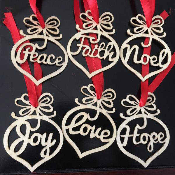 Árbol de navidad Adornos colgantes AÑO NUEVO colgante de madera natural Regalos colgantes Árbol de Navidad Decoración Decoración para el hogar paz esperanza fe
