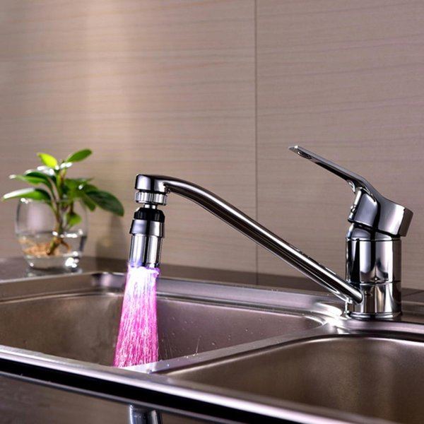 Kitchen Sink 7Color Change Glow Water Stream Shower LED Faucet Taps Light levert