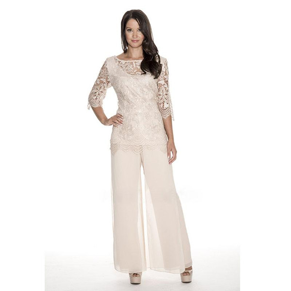 High Quality Lace Mother Of The Bride Pant Suits Sheer Bateau Neck Wedding Guest Dress Two Pieces Plus Size Chiffon Mothers Groom Dresses