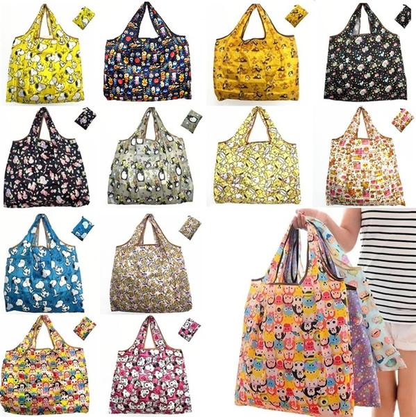 Sacs de rangement réutilisables écologiques de sacs de magasinage de sac de rangement réutilisables en nylon imperméable de sacs à provisions de sac de grande capacité sacs de stockage I280