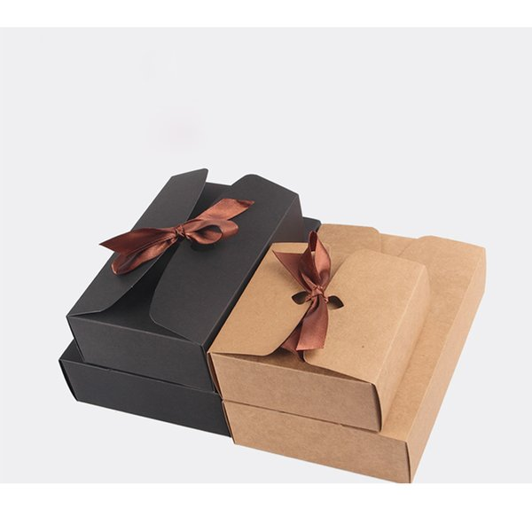 4 Size Black Brown Kraft Paper Boxes with Bowknot Baking Food Carton Box Cookies Mooncake Chocolate Packaging Storage Boxes