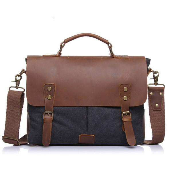 BARAGHINI  Business briefcase Vintage Messenger shoulder Bag for Men and Women Canvas Satchel Laptops Bag Unisex Handbags