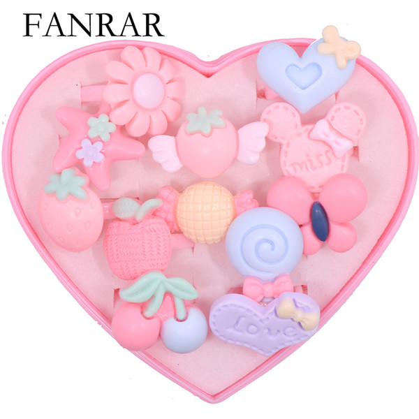 12pcs Mix Lot Cartoon Pink Flower Fruit Assorted Resin Rings for Baby Kids Girl Children Rings Gift Jewelry with Heart Box