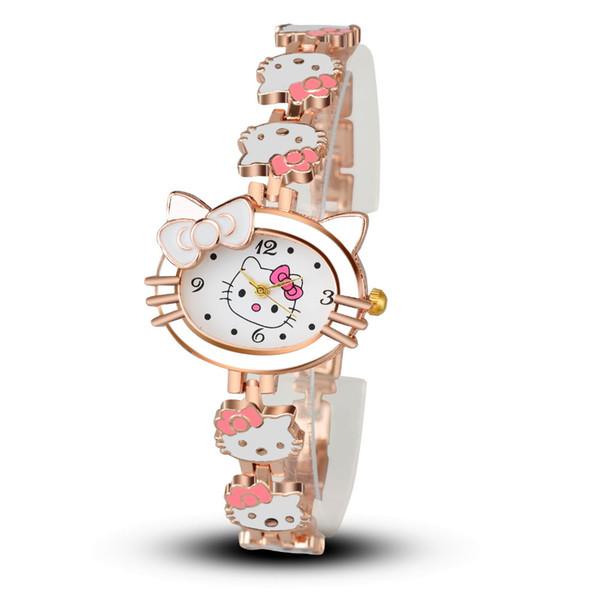 Kadın Çocuk Karikatür Karikatür İzle Hello Kitty Moda Rahat Elbise Kuvars Saatler Kadın Mujer Relojes Sıcak satış Çocuk Saat