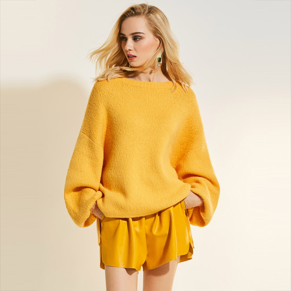 2019 Autumn Women Yellow Sweater 2018 Plain Loose Casual Modern Round Neck  Knitwear Lantern Sleeve Fall Female Pullover Sweater From Blueberry07,