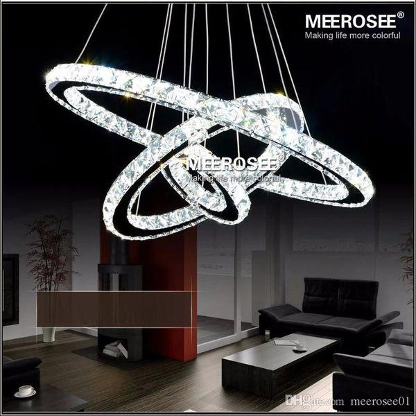 Expédition rapide 3 Anneaux Moderne Chrome Pendentif Lampe LED Hall Cristal Lustre Pendentif Lumières Cuisine LED Lustres MD8825