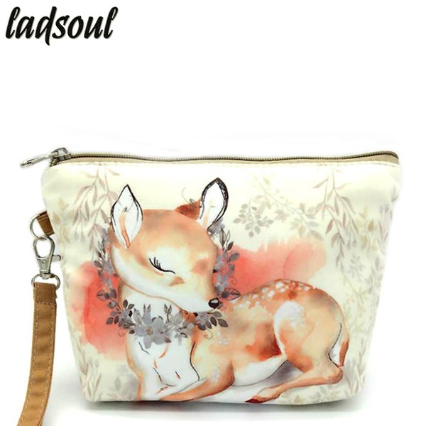 LADSOUL 2018 Fashion Cosmetic Bag High Quality Makeup Bag Cartoon Printing Organizer Bags Canvas Portable Storage Bags A1340/g