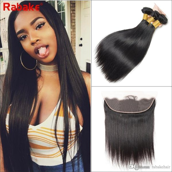 Peruvian Virgin Hair Bundles with Frontal Closure Straight Human Hair Weave 13x4 Swiss Lace Bleached Knots Best Rabake Wholesale Cheap Price