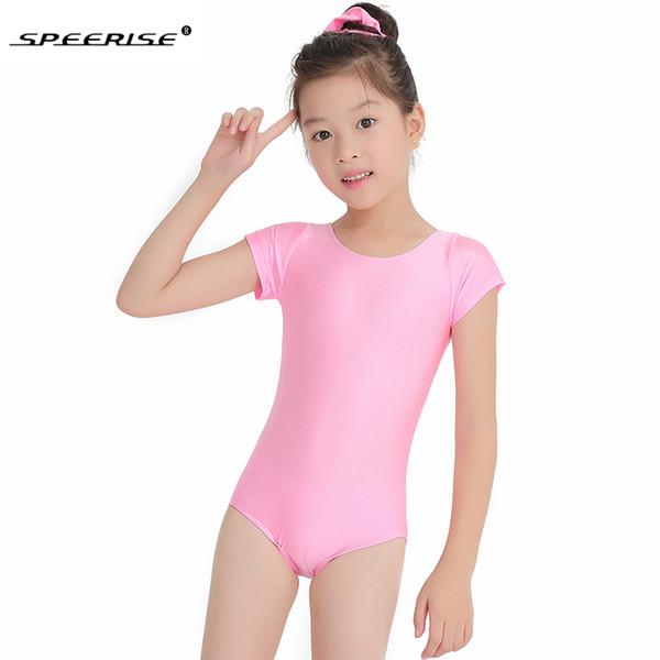 SPEERISE Girls Cap manica corta Body danza Danza Spandex Lycra Body Unitard per bambini Giovani bambini Body ginnastica
