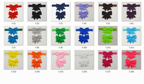 18pcs hair bands accessories for girls baby navy hair bows clips crown lace ribbon headwear headbands elastic hairband HD111