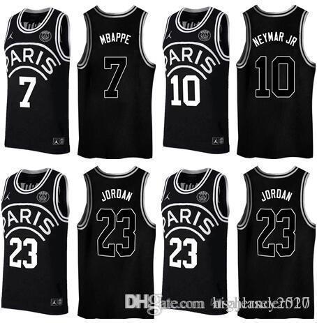 superior quality 154f1 a74d6 2018 2018 Black Basketball AJ PSG Jerseys 23 Michael MJ NEYMA 10 Jr Jersey  7 MBAPPE Paris Maillot De Basket Black Shirt From Suoqin, $14.23 | ...