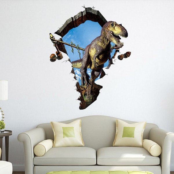 Dinosaur 3D Stickers Cartoon Creative PVC Waterproof Wallpapers Self-adhesive Arts Murals Can Be Removable Sitting Room Bedroom Decoration